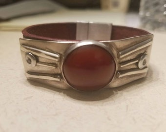 Sterling silver, red carnelian and leather bracelet
