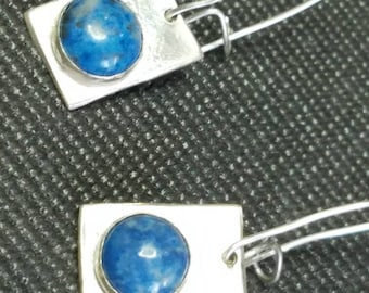 Sterling silver and denim lapis dangle earrings