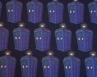 Doctor Who Fabric, Yardage or Fat Quarters, FQ, Dr Who Fabric, Tardis Fabric, BBC, Police Public Call Box, Dr Who Tardis, Hard to Find