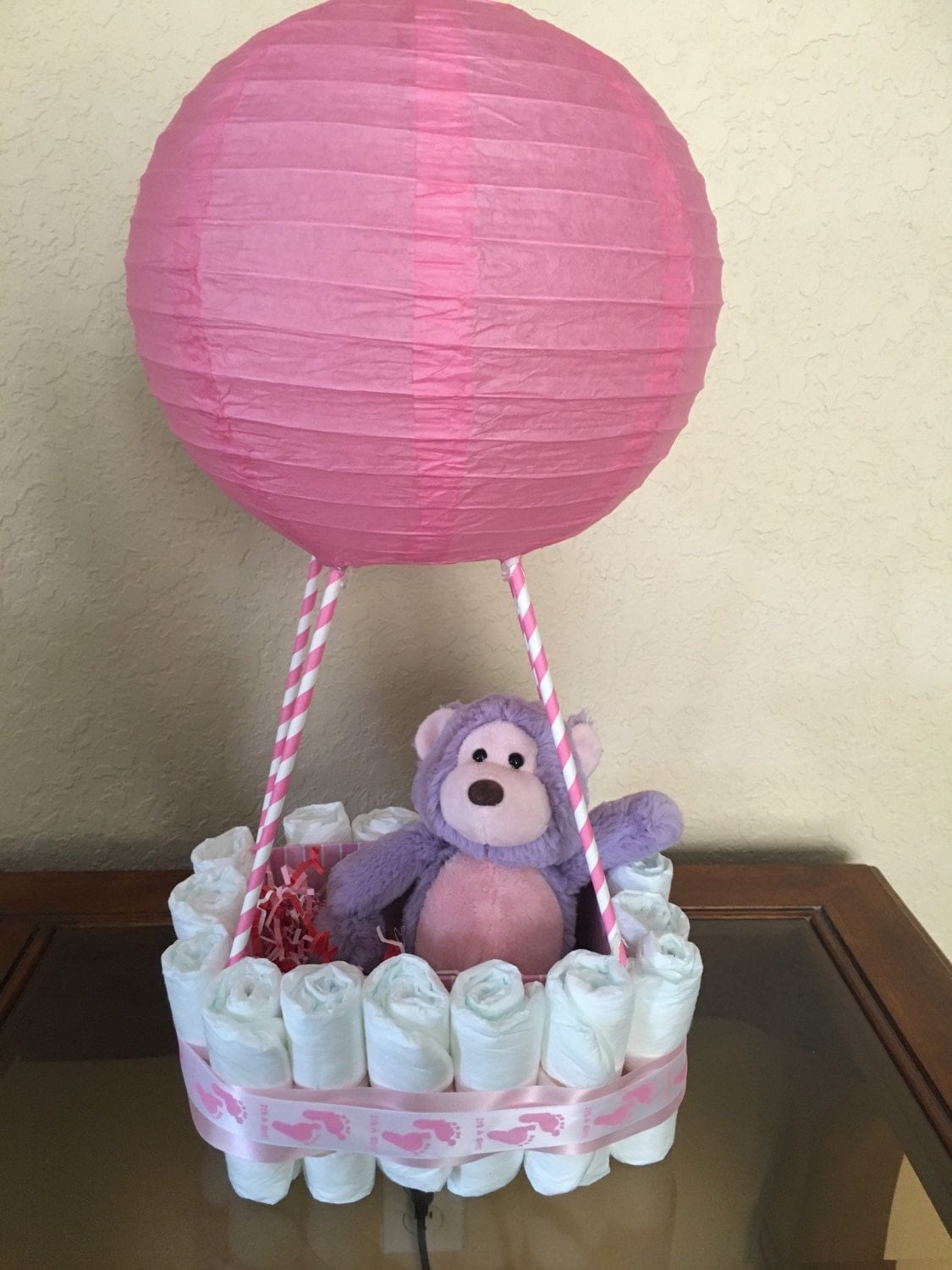 it 39 s a girl hot air balloon diaper cake by thediaperdivas on etsy. Black Bedroom Furniture Sets. Home Design Ideas