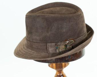 Mens leather hat fedora/Trilby Wide Brim Hat