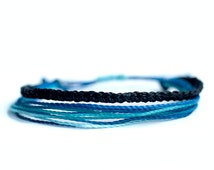 Bracelet multi strings, with braided, polyester cord waxed, blue, beach.