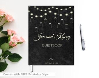 Mason Jar Wedding Guest Book, Rustic Wedding guest book, Hard Cover Mason Jar wedding guestbook, Chalkcustom guestbook with mason jar