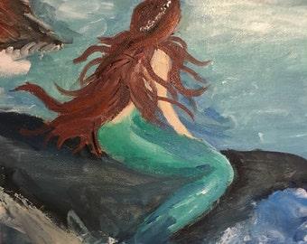 "Mermaid 14""x11"" acrylic painting"