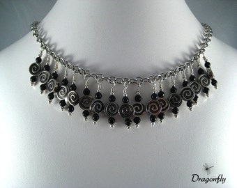 Silver and Black Spiral Drop Necklace
