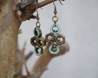 rustic hex nut earrings
