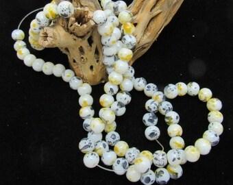 1 Strand 8mm Spray Painted Glass Round Beads  Yellow/Gray/White  (B38)