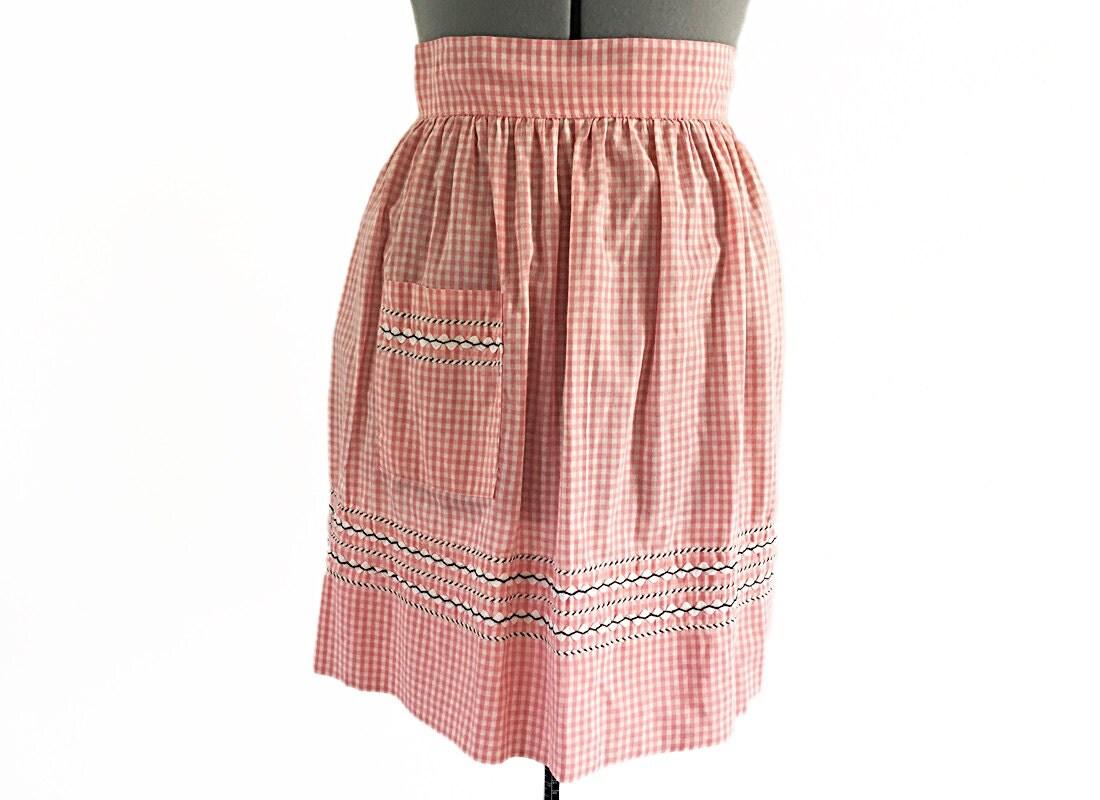 White half apron vintage - Gingham Half Apron Vintage Pink White Gingham Pink Skirt Gift For