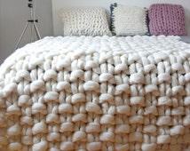 Chunky knit throw, chunky wool blanket, giant knit blanket, Chunky throw merino, Giant cosy blanket ,Knit blanket chunky, Large Knit throw