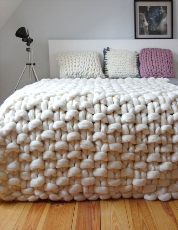 Knitting Wool Blanket : Chunky knit throw wool blanket giant by panapufa