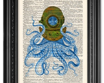Octopus Diver, Octopus art, Dictionary art print, Vintage book art print, upcycled dictionary page, Home Wall Decor, Gift poster [ART 094]