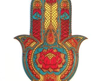 Large Lotus Flower Hamsa Wall Art, Hand Painted Sacred Protection Symbol Decor
