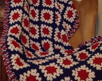Crochet Granny Square Afghan Throw: Patriotic Edition