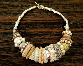 Beaded and Crocheted Chunky Necklace