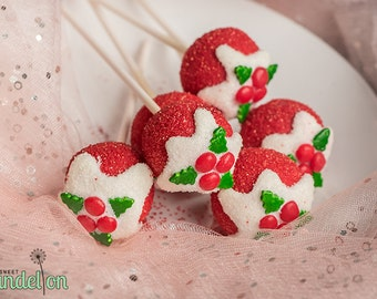 Christmas Holly Cake Pops