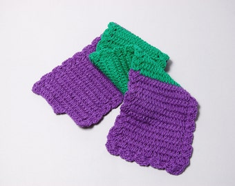 Warm knitted Purple and Green Scarf
