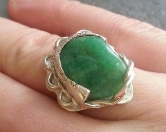 Twisted wire Jade ring size 8