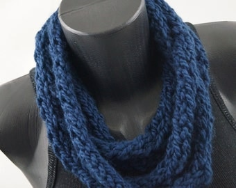 Handmade Kids Cowl DENIM Colored Navy Blue Infinity Knitted Scarf