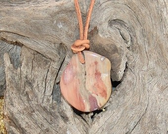 Natural petrified wood pendant