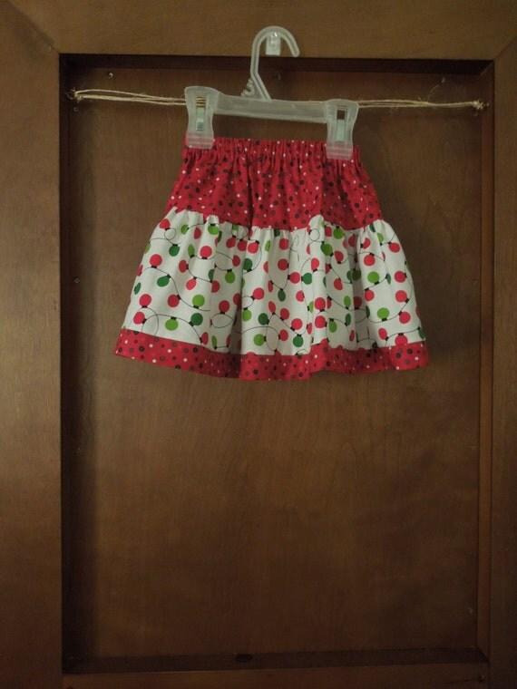 Holiday Skirt,Christmas Skirt, Baby Skirt, Toddler Skirt, Girls Skirt, Red with Green and Red Christmas lights print Skirt  26.99+