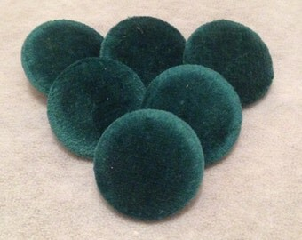 Green Buttons, Velvet Buttons, Fabric Covered Buttons, 31mm, Large Buttons, Shank Buttons, Coat Buttons, Sewing Supplies, Upholstery Buttons