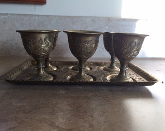 6 brass? shot glasses with matching tray, India