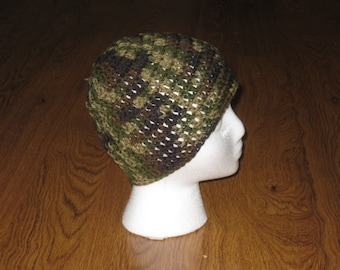 Camo Green Crocheted Hat