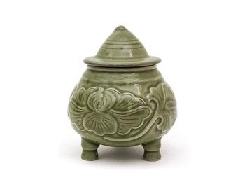 Signed Korean Celadon Small Covered Jar