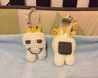 Crocheted tooth fairy holder pillow. Tooth pillow.
