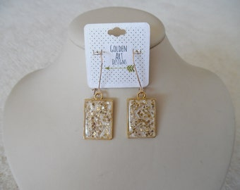 Holiday Gift Party Gold Glass Resin Earrings- Champagne Metallic