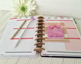 Happy Planner notepad insert for mini, classic or large size planner blush pink rose gold foil dashboard