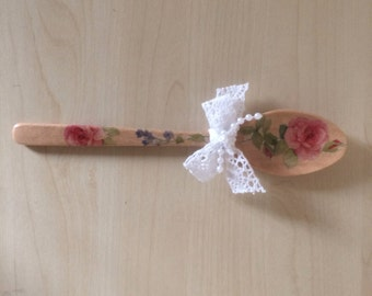 Decoupage wooden spoon, Kitchen spoon, Decoupage spoon, gift for her