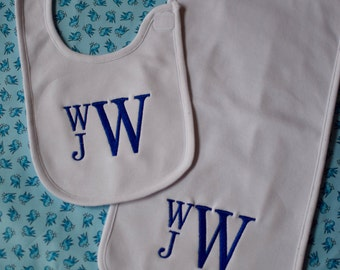 Monogrammed baby bib and burp cloth set