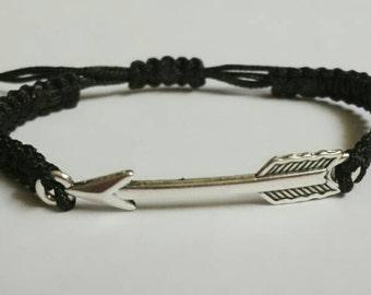 Silver Arrow Adjustable Macrame Style Bracelet