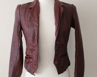 1980s Vintage Puff Sleeve Leather Wilsons Blazer Size XSmall/Small
