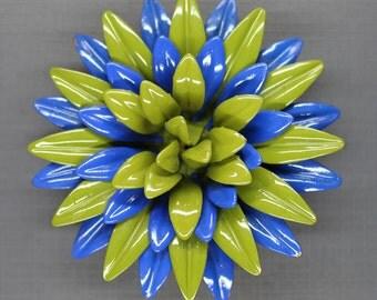 Vintage Blue and Avocado Green Enamel Flower Pin Brooch