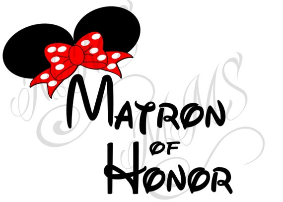 Matron Of Honor Bride Groom Wedding Mickey Mouse Head Disney