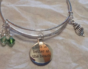 Life is better at the beach charm bracelet with swarovski crystals