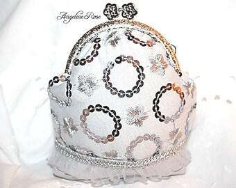 silver coin purse, silver clutch, silver metal frame, grey purse, polka dot, unique purse, angeline rose purse, make up bag, frill purse