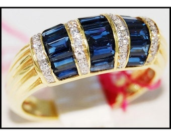 Natural Gemstone 18K Yellow Gold Diamond Blue Sapphire Ring [RR033]