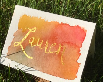 Thanksgiving Place Cards; Autumn Wedding Place Cards - Gold Names + Watercolor Background; Fall Wedding