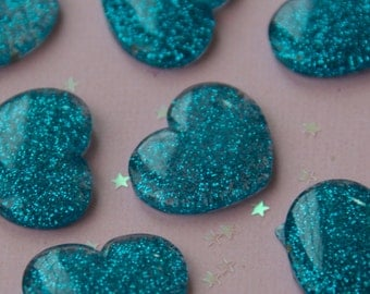 Blue sparkly heart cabochon