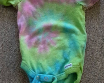 3-6 month pink, blue, and green tie dye onesie