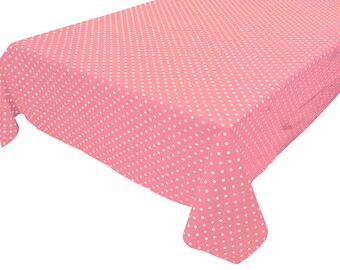Cotton Table Cloth Polka Dots / Spots Small Dots White on Pink