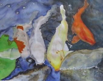 Blue white koi fish etsy for Blue and white koi fish