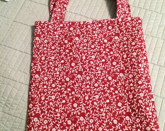 Red and White Print Tote Bag