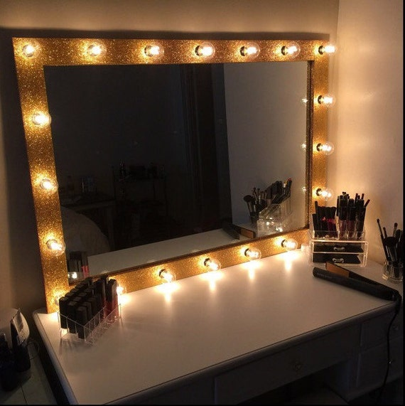 Lighted Vanity Mirror Large : LARGE Lighted Vanity Mirror with by RamshackleAndSwank on Etsy