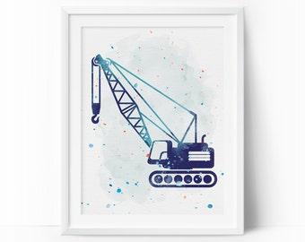 Construction Crane, Construction Nursery, Navy Nursery Decor, Crane Printable, Toddler Decor, Baby Boy Nursery, Nursery Watercolor Wall Art