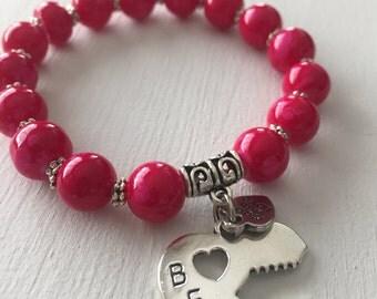 Friendship Bracelet, Set of two, Best Friend Bracelet, Hot Pink Bracelet, Woman Jewelry,Stretch Bracelet