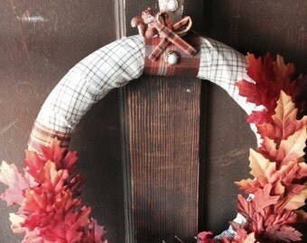 Fall Red and Orange 17inch Wreath